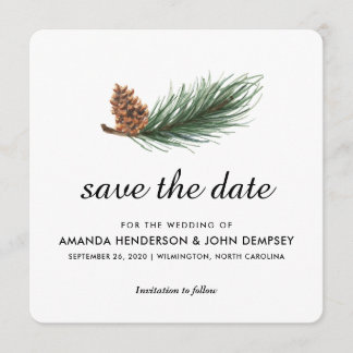 Watercolor Pine Branch Winter Save the Date