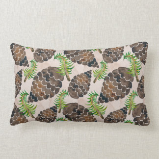 Watercolor Pine Cone Pattern Lumbar Pillow