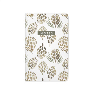 Watercolor Pine Cone Patterned Journal