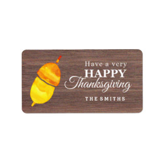 Watercolor Pine cone Thanksgiving Label