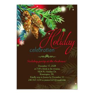 Watercolor Pine Cones Holiday Party Card