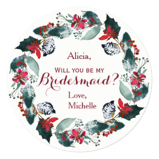 Watercolor pine green red peony wreath bridesmaid invitation