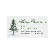 Watercolor Pine Tree Chic Christmas Return Address Label