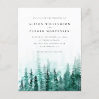 Watercolor Pine Tree Forest Country Wedding Invitation Postcard
