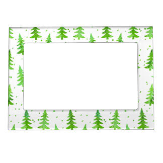 Watercolor Pine Trees Magnetic Photo Frame