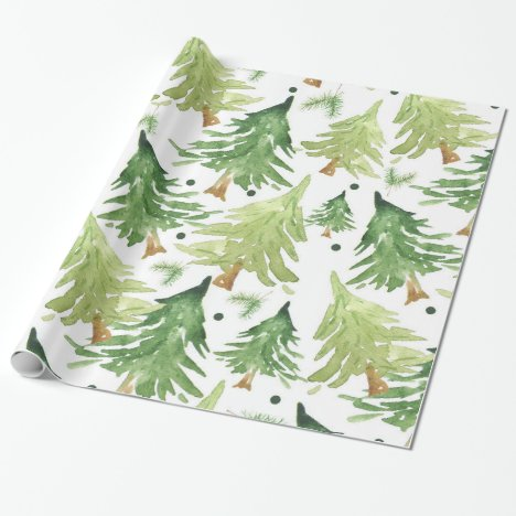 Watercolor Pine Trees Modern Rustic Wrapping Paper