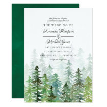 Watercolor Pine Trees Winter Wedding Invitation