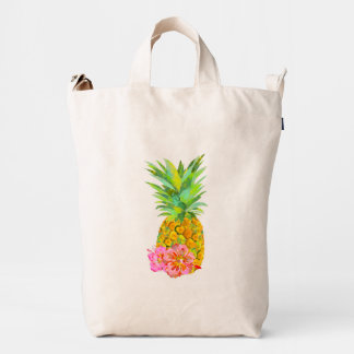 Watercolor pineapple and red hibiscus duck bag
