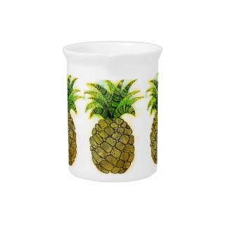 Watercolor Pineapple Beverage Pitcher