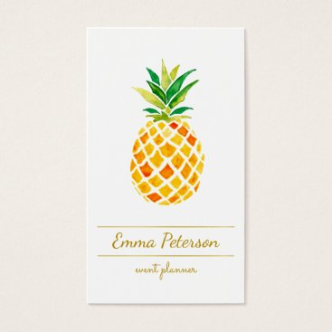 Professional Business watercolor pineapple business card