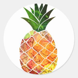 Watercolor Pineapple Classic Round Sticker