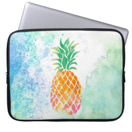 watercolor pineapple computer sleeve