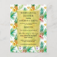 Watercolor Pineapple & Hibiscus Rehearsal Dinner Invitation Postcard