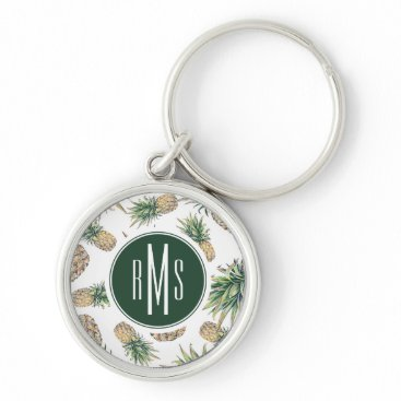 Watercolor Pineapple Pattern Keychain