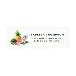 Watercolor Pineapple Tropical Custom Address Label