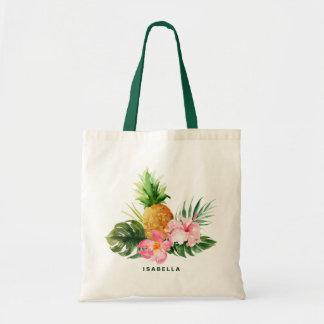 Watercolor Pineapple Tropical Custom Tote Bag