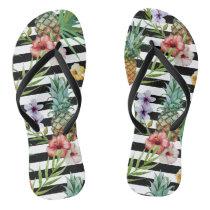 Watercolor pineapple tropical flower black stripes flip flops