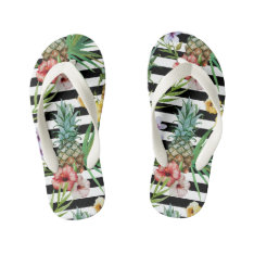 Watercolor Pineapple Tropical Flower Black Stripes Kid's Flip Flops at Zazzle