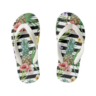 Watercolor pineapple tropical flower black stripes kid's flip flops