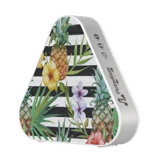 Watercolor pineapple tropical flower black stripes speaker