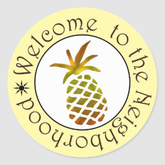 Watercolor Pineapple Welcome to the Neighborhood Classic Round Sticker