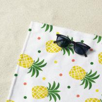 watercolor pineapples pattern beach towel