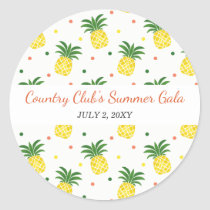 watercolor pineapples pattern classic round sticker