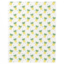 watercolor pineapples pattern fleece blanket