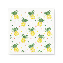 watercolor pineapples pattern napkin