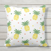 watercolor pineapples pattern outdoor pillow