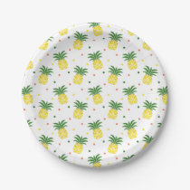 watercolor pineapples pattern paper plate