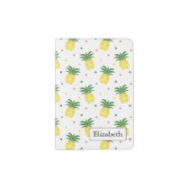 watercolor pineapples pattern passport holder
