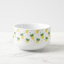 watercolor pineapples pattern soup mug
