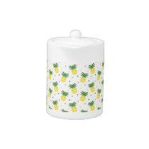 watercolor pineapples pattern teapot