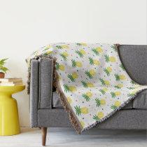 watercolor pineapples pattern throw blanket
