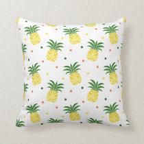 watercolor pineapples pattern throw pillow