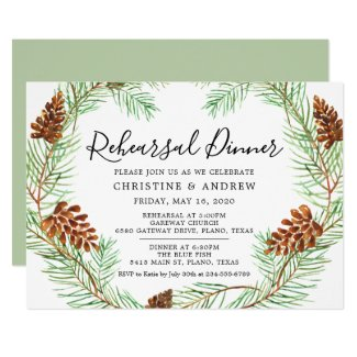 Watercolor Pinecone Elegant Winter Rehearsal Invitation