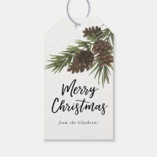 Watercolor Pines Gift Tag