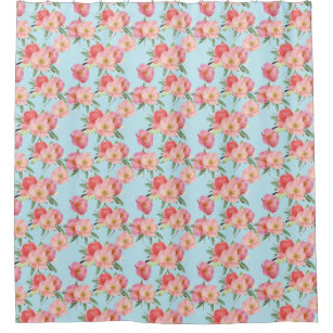 Watercolor Pink And Blue Garden Flowers Shower Curtain