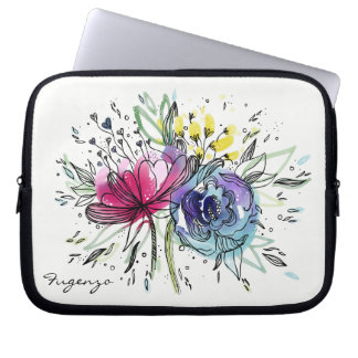 Watercolor Pink and Blue Monogram Computer Sleeve