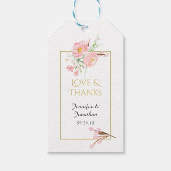 Watercolor Pink and Gold Wedding Thank You Gift Tags