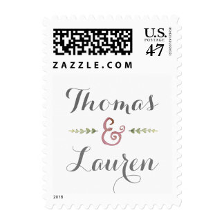 Watercolor Pink and Green Wedding Postage