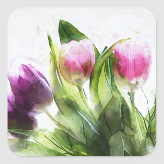 Watercolor Pink and Purple Tulips Sticker