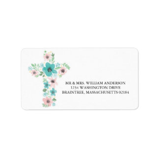 Watercolor Pink and Teal Flower Cross Label