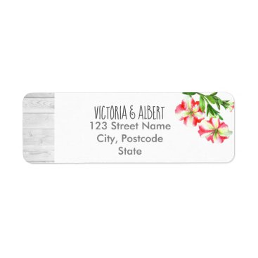 Wedding Themed Watercolor Pink and White Petunias Floral Wedding Label