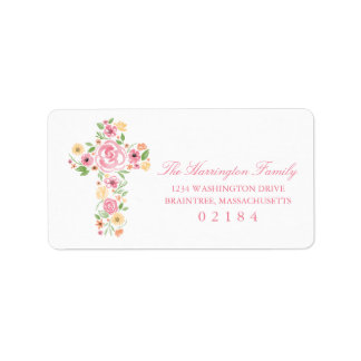 Watercolor Pink and Yellow Flower Cross Label