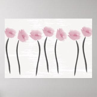 Watercolor Pink Anemones Flowers Pastels Poster
