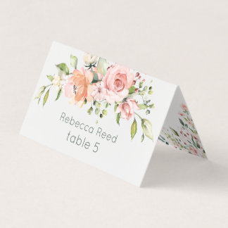 Watercolor pink apricot roses place card
