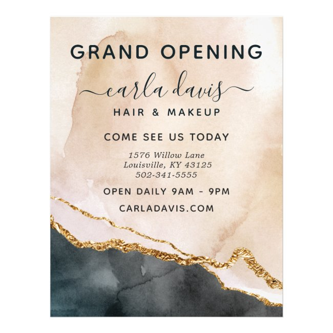 Watercolor Pink Black Gold Salon Grand Opening Flyer