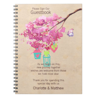 Watercolor Pink Blossom Tree Wedding Guestbook Spiral Note Book